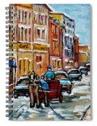 Paintings Of Old Port Quebec Vieux Montreal Memories Rue Notre Dame Snowscenes Art Carole Spandau Spiral Notebook