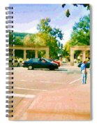Paintings Of Roddick Gates Entrance Mcgill Campus  From Sherbrooke Towards The Mountain Cspandau Art Spiral Notebook