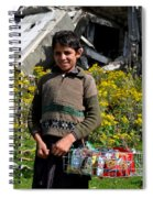 Pakistani Boy In Front Of Hotel Ruins In Swat Valley Spiral Notebook