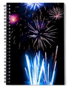 Pale Blue And Red Fireworks Spiral Notebook