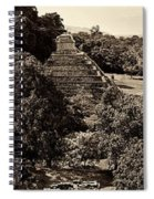 Palenque From The Jungle Panorama Sepia Spiral Notebook