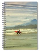 Panoramic Of Surfers On Long Beach, Bc Spiral Notebook