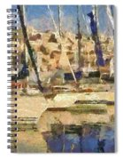Panoramic Painting Of Mikrolimano Spiral Notebook