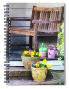 Pansies And Watering Cans On Steps Spiral Notebook