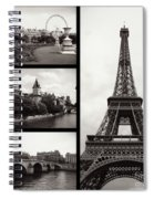 Paris Collage - Black And White Spiral Notebook