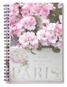 Paris Pink Flowers, Parisian Shabby Chic Paris Flower Box - Paris Floral Decor Spiral Notebook