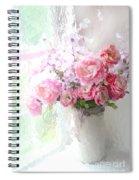 Paris Peonies Roses Shabby Chic Art - Romantic Paris Peonies And Roses Impressionistic Floral Art Spiral Notebook