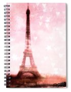 Paris Pink Eiffel Tower - Shabby Chic Paris Dreamy Pink Eiffel Tower With Hearts And Stars Spiral Notebook