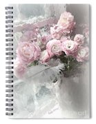 Paris Pink Impressionistic French Roses And Ranunculus - Shabby Chic Romantic Pink Flowers Spiral Notebook