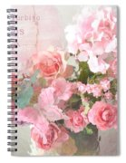 Paris Shabby Chic Dreamy Pink Peach Impressionistic Romantic Cottage Chic Paris Flower Photography Spiral Notebook