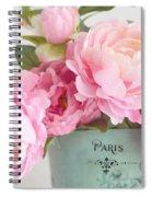 Paris Peonies Shabby Chic Dreamy Pink Peonies Romantic Cottage Chic Paris Peonies Floral Art Spiral Notebook