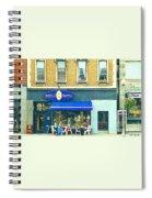 Paris Style French Bistro Art Sidewalk Cafe Terrace  Antique Shop C Spandau Montreal City Paintings Spiral Notebook