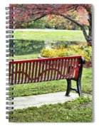 Park Bench By The Pond Spiral Notebook