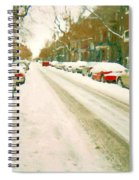 Parked Cars Snowed In Cold December Day Verdun Painting Quebec Winter Scenes Carole Spandau Art Spiral Notebook