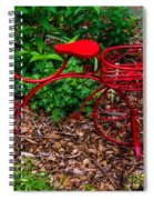 Parked Red Bicycle Spiral Notebook