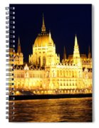 Parliament Building At Night In Budapest Spiral Notebook