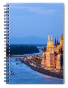 Parliament Building In Budapest At Evening Spiral Notebook