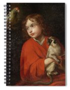 Parrot Watching A Boy Holding A Monkey Spiral Notebook