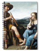 Pastoral Scene With A Shepherd Family Against A Countryside Background Spiral Notebook