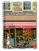 Patisserie Les Saveurs Du Plateau Pique Nique Et Emporter Montreal Cafe Scene Art By Carole Spandau  Spiral Notebook