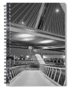 Paul Revere Park And The Zakim Bridge Bw Spiral Notebook
