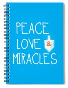 Peace Love And Miracles With Dreidel  Spiral Notebook