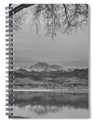 Peaceful Early Morning First Light Longs Peak View Bw Spiral Notebook