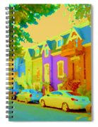 Peaceful Painted Pastel Rowhouses Printemps Plateau Montreal Scene Du Rue Carole Spandau Spiral Notebook