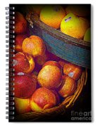 Peaches And Citrus With Blue Wooden Basket Spiral Notebook