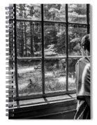 Peering Out The Window Bw Spiral Notebook