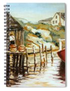 Peggy's Cove Nova Scotia Fishing Village With Red Boat Spiral Notebook