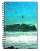 Pelicans Enjoying The Mighty Pacific Impressionism Spiral Notebook