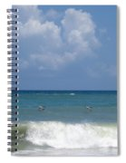 Pelicans Over The Ocean Spiral Notebook