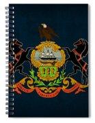 Pennsylvania State Flag Art On Worn Canvas Spiral Notebook