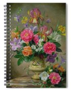 Peonies And Irises In A Ceramic Vase Spiral Notebook