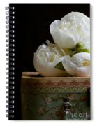 Peony Flowers On Old Hat Box Spiral Notebook