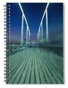 People On Swing Bridge At Dusk, Blurred Spiral Notebook