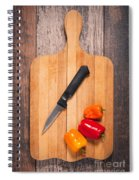 Peppers And Knife On Cutting Board Spiral Notebook