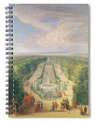 Perspective View Of The Grove From The Galerie Des Antiques At Versailles, 1688 Oil On Canvas Spiral Notebook