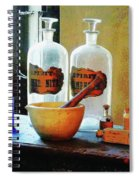 Pharmacist - Mortar And Pestle With Bottles Spiral Notebook