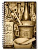 Pharmacy - Snake Oil -  Black And White Spiral Notebook