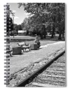 Phelps Ny Train Station In Black And White Spiral Notebook