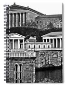 Philadelphia Art Museum At The Water Works In Black And White Spiral Notebook