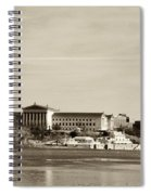 Philadelphia Art Museum With Cityscape In Sepia Spiral Notebook