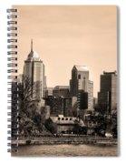 Philadelphia Cityscape In Sepia Spiral Notebook