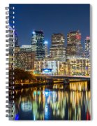 Philadelphia Cityscape Panorama By Night Spiral Notebook