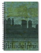 Philadelphia Pennsylvania Skyline Art On Distressed Wood Boards Spiral Notebook