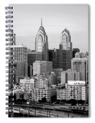 Philadelphia Skyline Black And White Bw Pano Spiral Notebook
