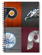 Philadelphia Sports Fan Recycled Vintage Pennsylvania License Plate Art Flyers Eagles 76ers Phillies Spiral Notebook
