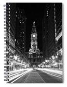Philadephia City Hall -- Black And White Spiral Notebook